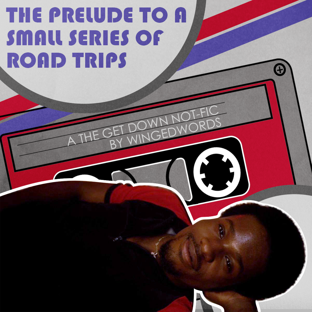 Cover art for the podfic. At the bottom of the cover is Shao laying down looking up with a smile. At the top of the cover the title reads 'the prelude to a small series of road trips.' The background is a casette tape and written on it is 'A The Get Down not-fic by wingedwords.' The color scheme is red and blue to match Shao and Zeke (who is not pictured).